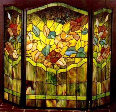 Tiffany Stained Glass Magnolia Fireplace Screen - Glasshouse Works