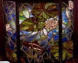 Tiffany Stained Glass Waterlilies & Fish Fireplace Screen