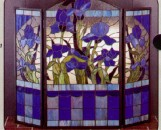 Tiffany Stained Glass Blue Iris Fireplace Screen