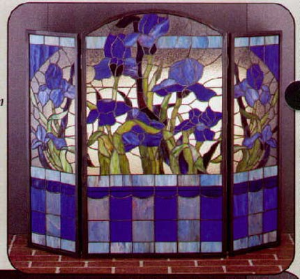 Tiffany Stained Glass Blue Iris Fireplace Screen Glasshouse Works