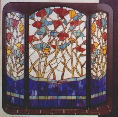 Tiffany Stained Glass Floral Fireplace Screen - Tiffany Stained Glass Floral Fireplace Screen - Glasshouse Works
