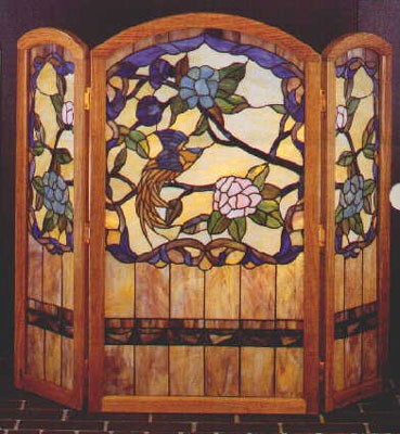 Tiffany Stained Glass Paradise Garden Fireplace Screen Glasshouse