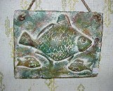 Ceramic Mexican Fish Plaque Green