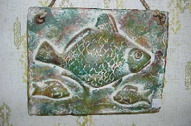 Ceramic Mexican Fish Plaque Green