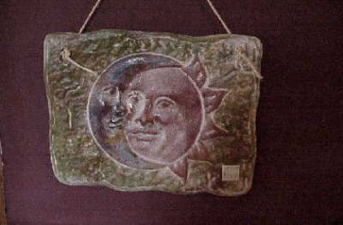 Ceramic Mexican Sun/Moon Plaque