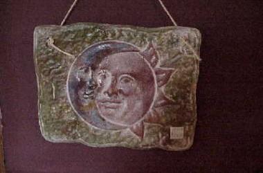 Ceramic Mexican Sun/Moon Plaque